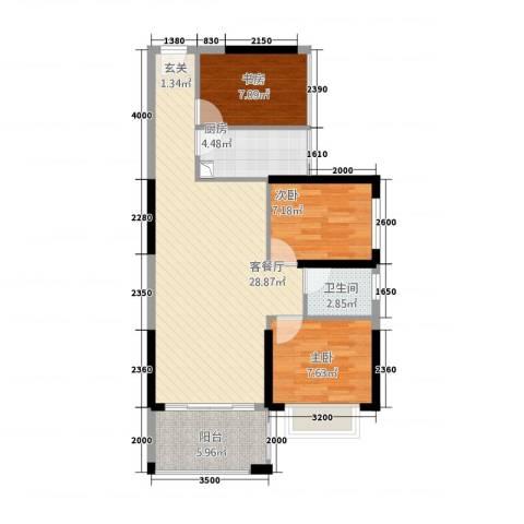 小城故事3室1厅1卫1厨91.00㎡户型图