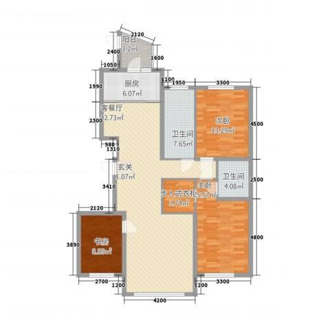 宝地・东晟花园3室1厅2卫1厨148.00㎡户型图