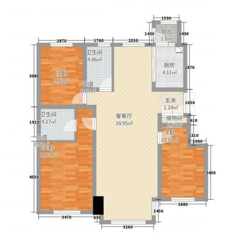 太阳新城3室1厅2卫1厨132.00㎡户型图