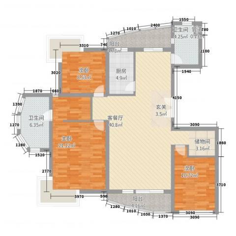 古北嘉年华庭3室1厅2卫1厨144.00㎡户型图