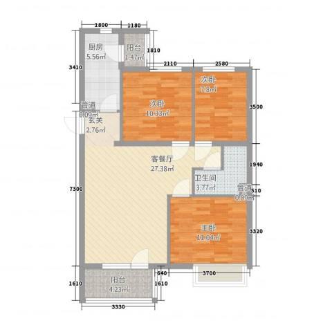金色漫香林别墅3室1厅1卫1厨102.00㎡户型图