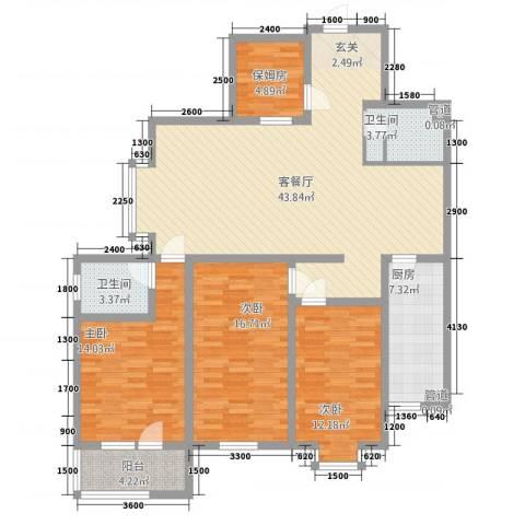 怡和国际花园3室1厅2卫1厨162.00㎡户型图