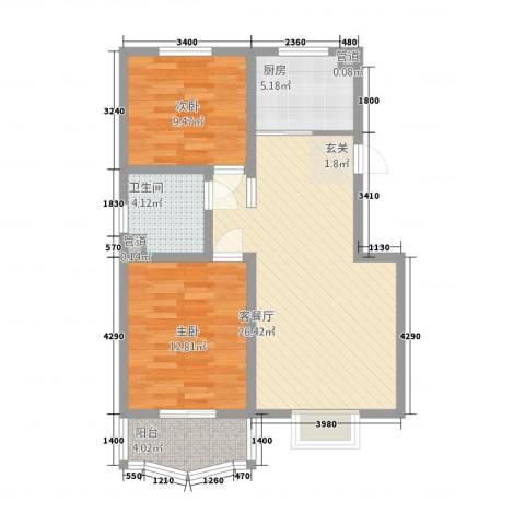 青青新城2室1厅1卫1厨62.24㎡户型图