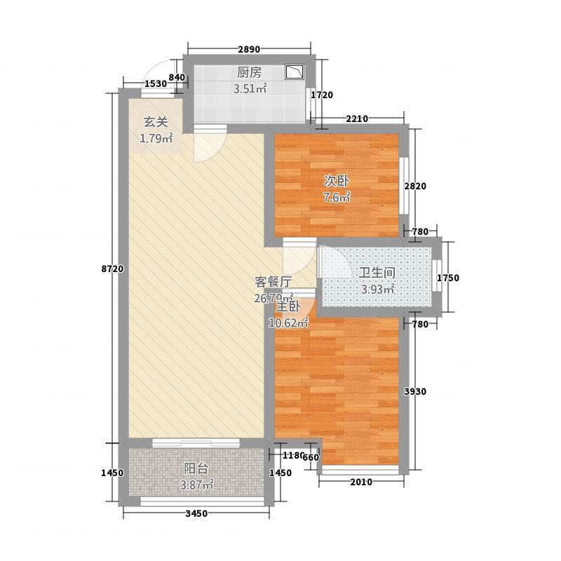建业桂园83.00㎡B3户型2室2厅1卫1厨
