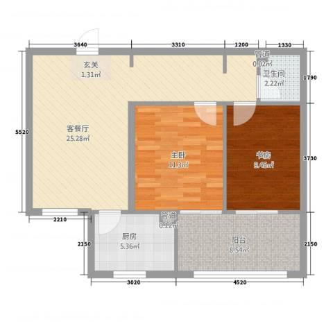 南海国际2室1厅1卫1厨88.00㎡户型图