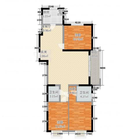 凯铂精品酒店3室1厅2卫1厨110.90㎡户型图