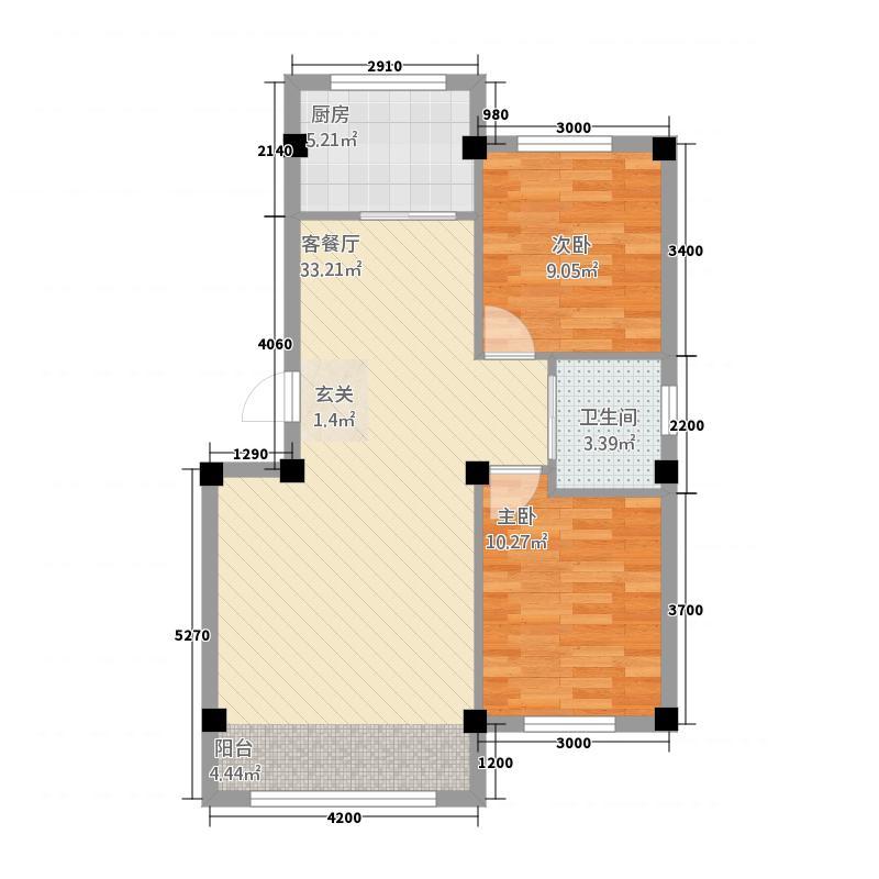 亿豪金城8.70㎡户型2室2厅1卫1厨