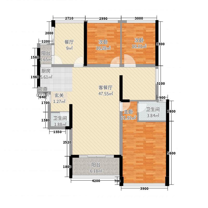 东�时代135128.23㎡1#03户型5室2厅2卫1厨