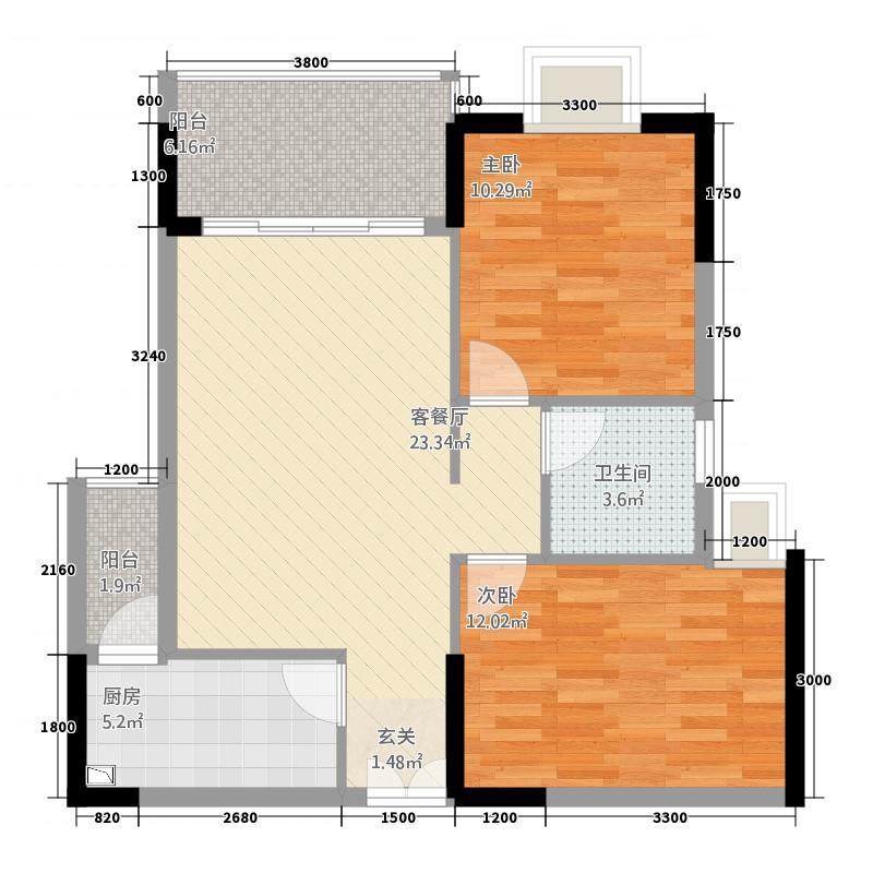 海韵华庭85.00㎡1号楼08型户型2室2厅1卫1厨