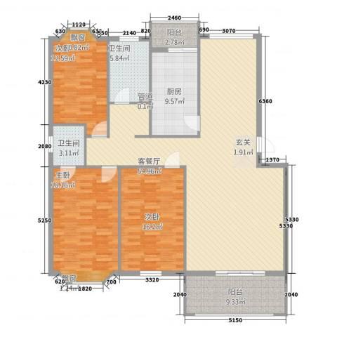 泰南苑3室1厅2卫1厨132.64㎡户型图