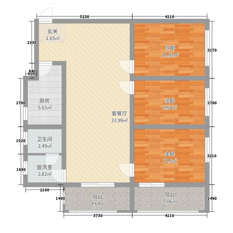 广发大厦124.00㎡户型3室