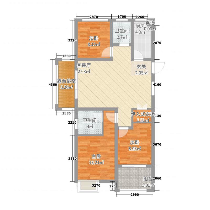 农房湖海城市花园B1户型3室2厅2卫1厨