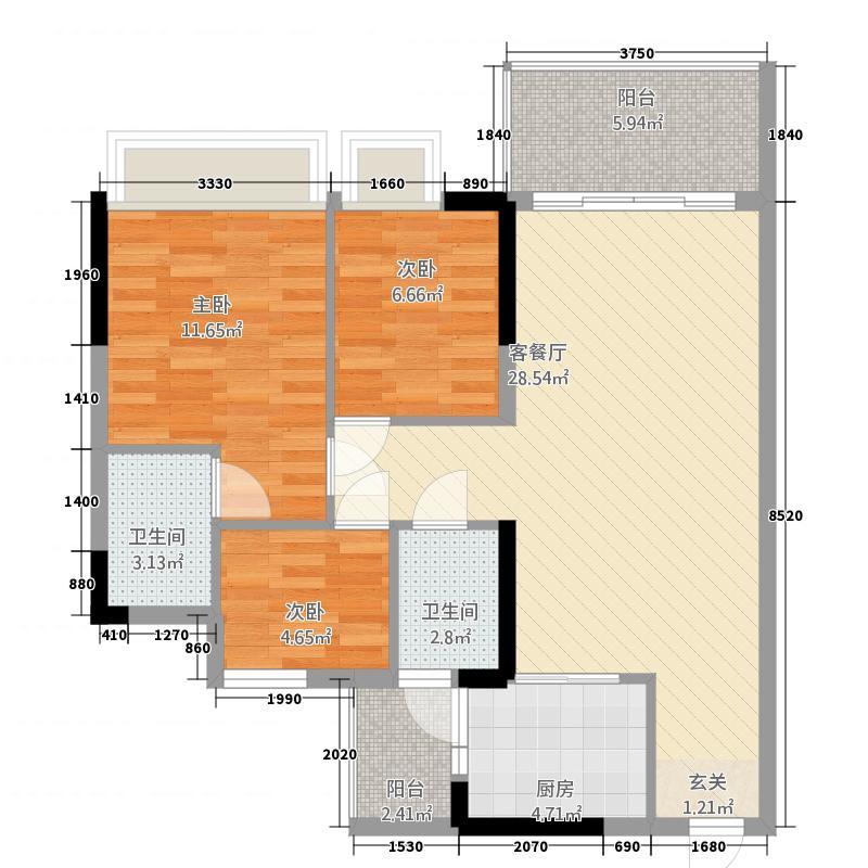芳华2087.60㎡1梯04单位、2梯03单位户型3室2厅2卫1厨