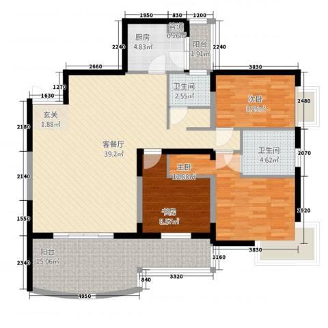 丽都大厦3室1厅2卫1厨140.00㎡户型图
