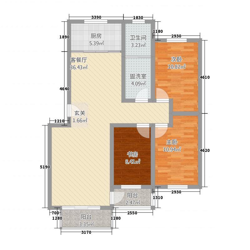 逸居园123.00㎡标准层C户型3室2厅1卫1厨