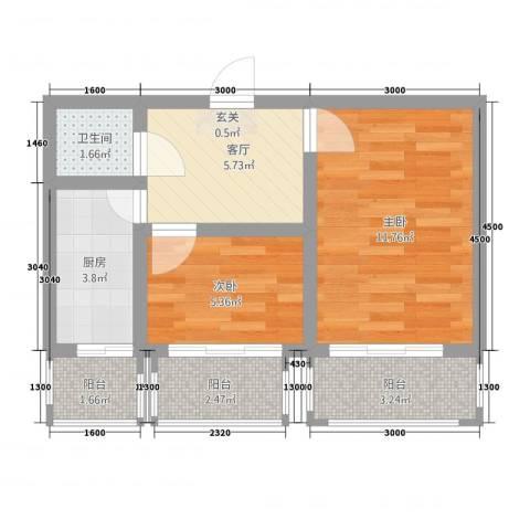 西延小区2室1厅1卫1厨54.00㎡户型图