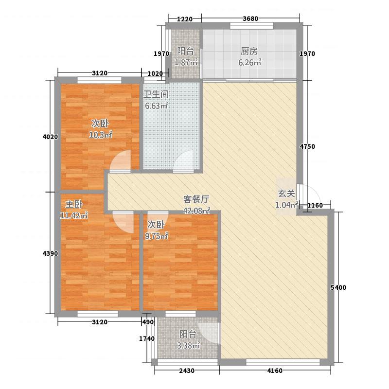 恒泰怡景花园二期126.71㎡多层A户型3室2厅1卫1厨