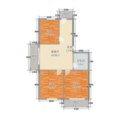 西延小区3室1厅1卫0厨108.00㎡户型图