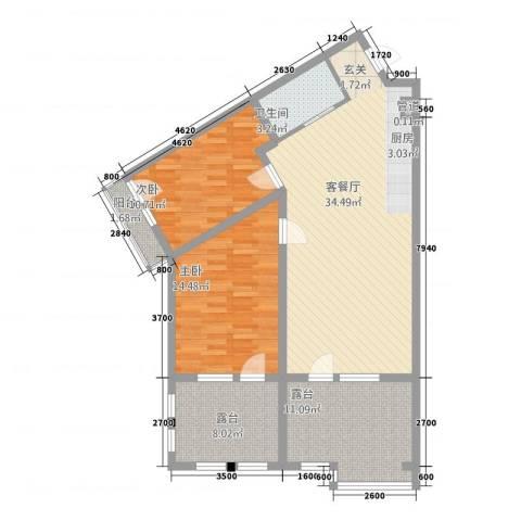 恒泰・时间海2室1厅1卫0厨83.81㎡户型图