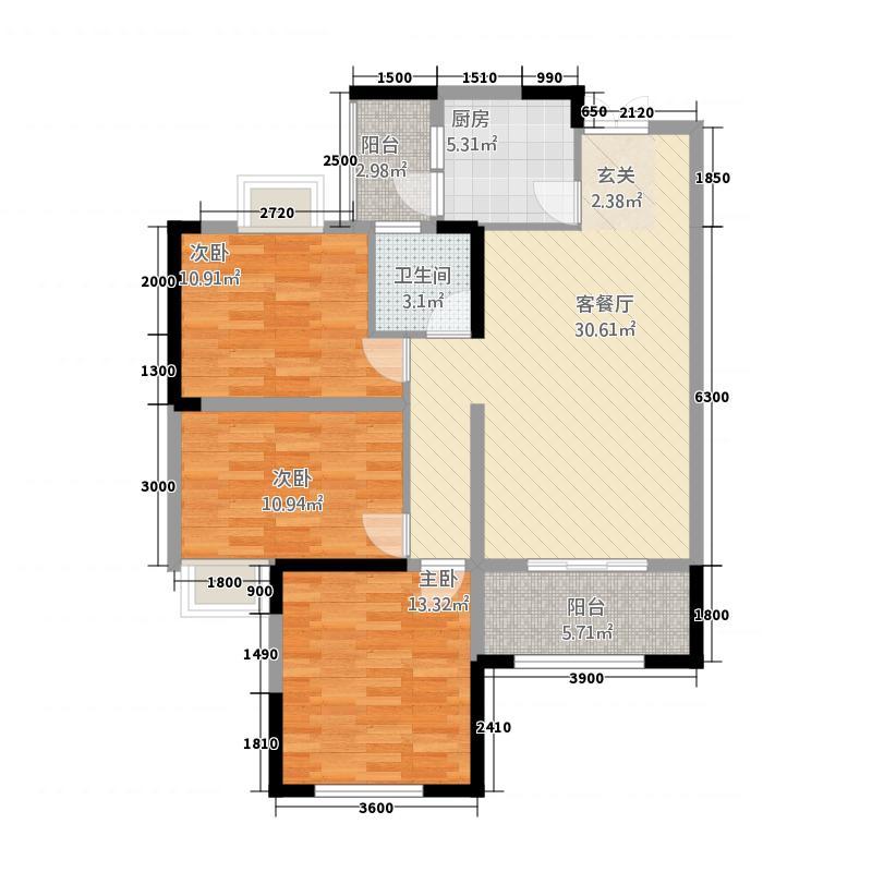 海韵・丹桂源111.68㎡一户型3室2厅1卫1厨