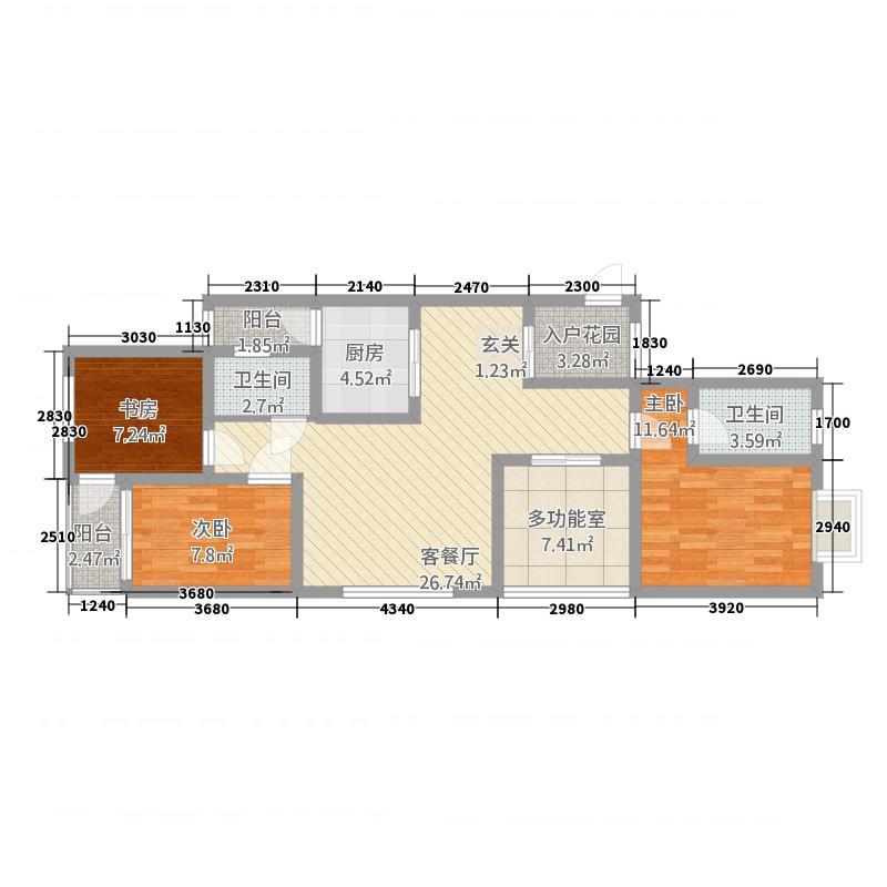 景胜苑117.58㎡户型4室2厅2卫1厨