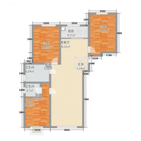 新隆小区3室1厅2卫1厨134.00㎡户型图