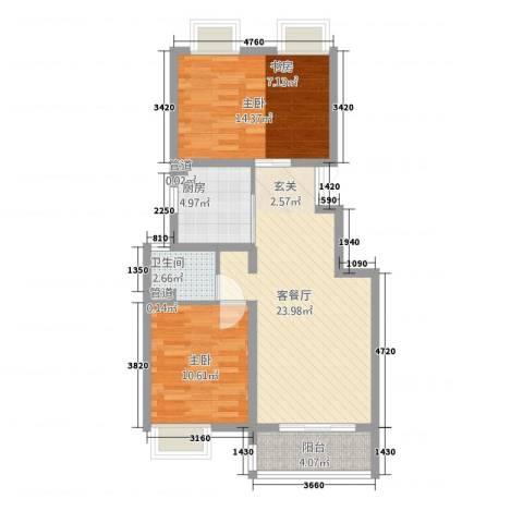 凯铂精品酒店2室1厅1卫1厨70.00㎡户型图