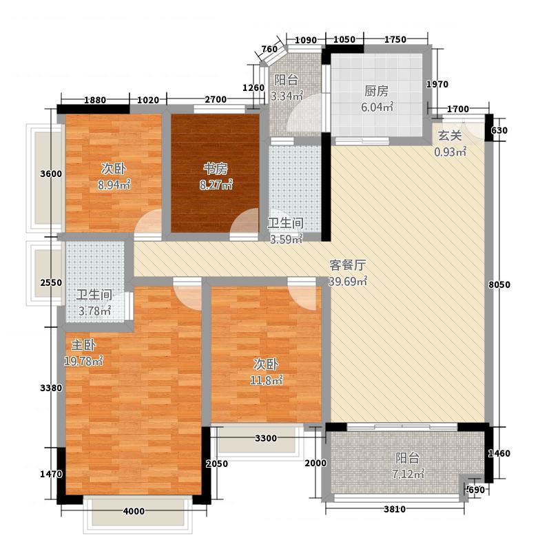 汇龙御景花园二期143.30㎡C6C7#-04户型4室2厅2卫1厨