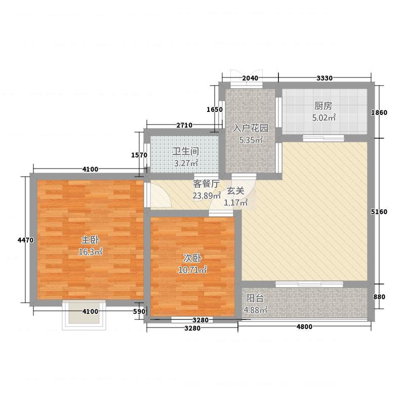 景胜苑2.00㎡户型3室2厅2卫1厨