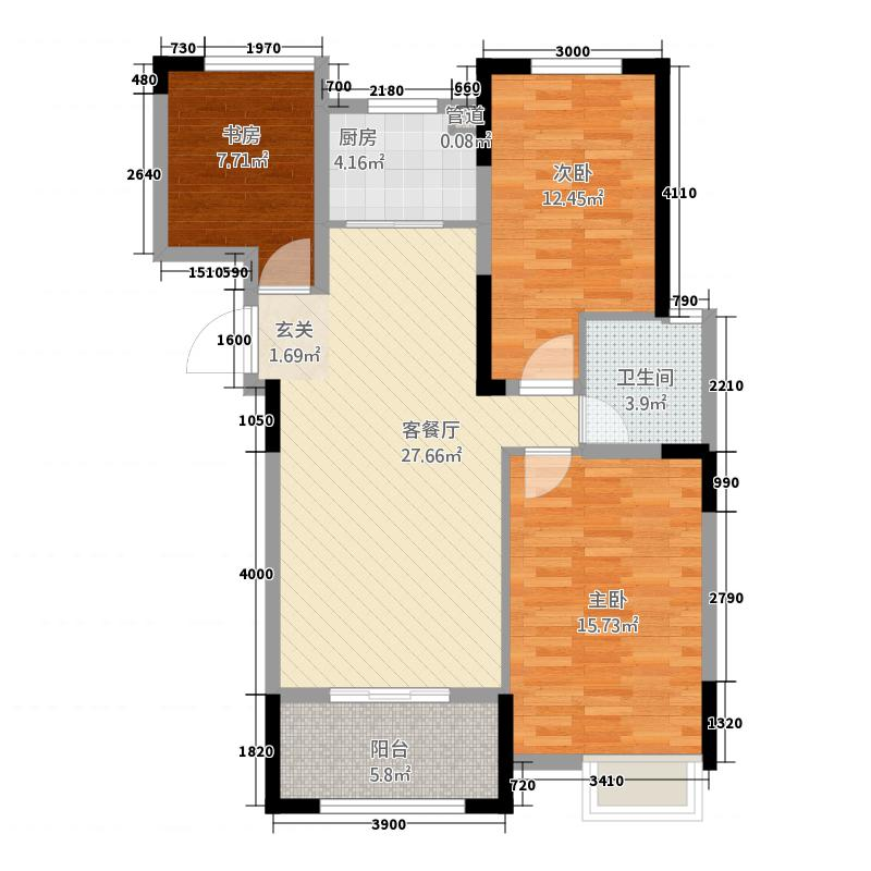 翔豪・新都16.00㎡高层户型2室2厅1卫1厨