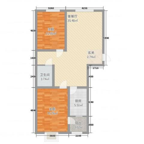 瑞丰苑2室1厅1卫1厨75.89㎡户型图