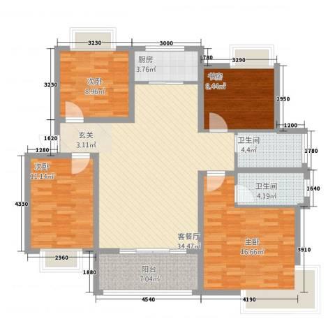 格林春天二期4室1厅2卫1厨135.00㎡户型图
