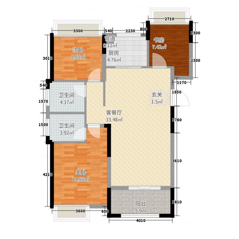 翔豪・新都117.00㎡高层户型2室2厅2卫1厨
