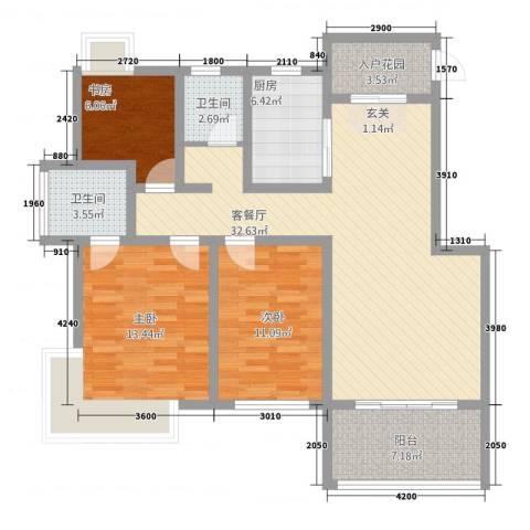 格林春天二期3室1厅2卫1厨86.60㎡户型图