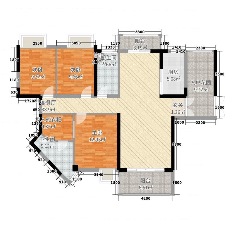 城建・君悦城142.33㎡2座B户型3室2厅2卫1厨