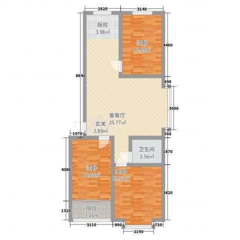建国福邸3室1厅1卫0厨114.00㎡户型图