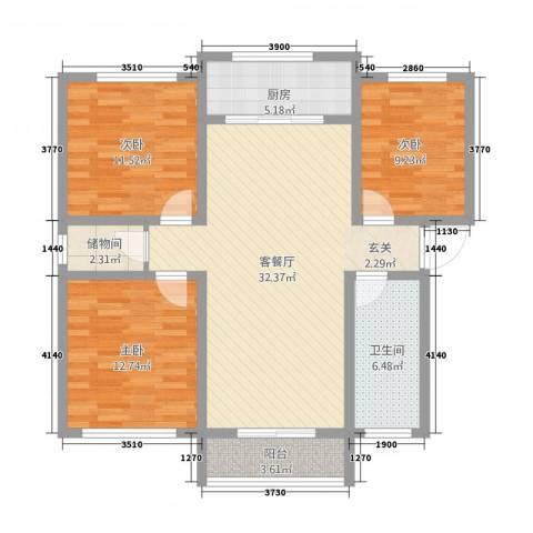 南城・都市花园3室1厅1卫1厨83.44㎡户型图