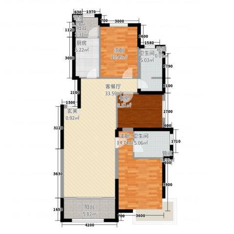 金地国际花园3室1厅2卫1厨128.00㎡户型图