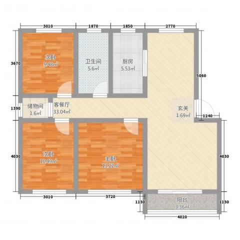 南城・都市花园3室1厅1卫1厨82.32㎡户型图