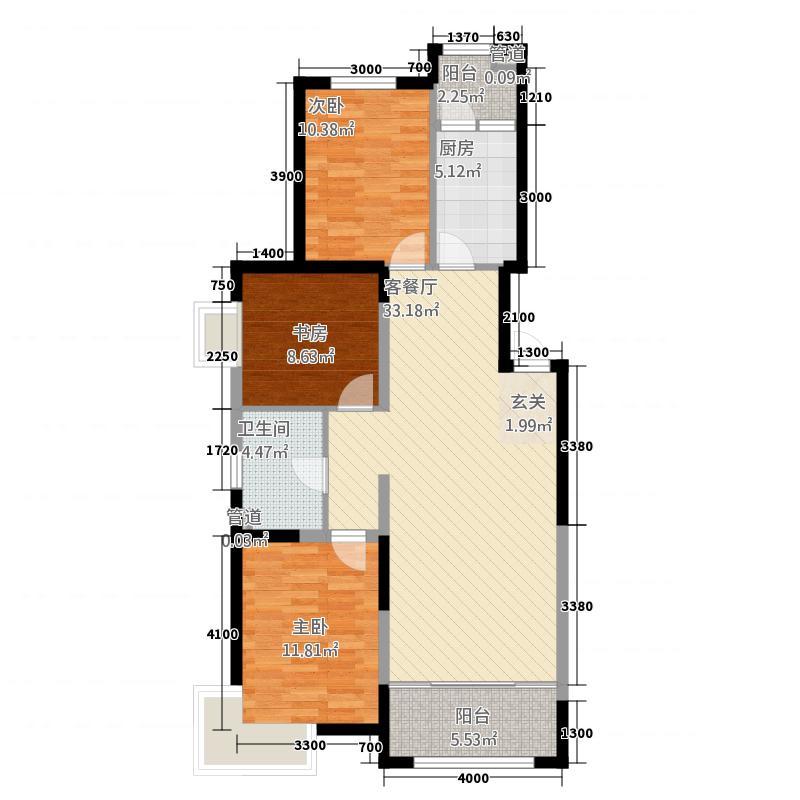 金地国际花园113.00㎡C1户型3室2厅1卫