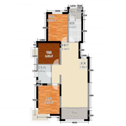 金地国际花园3室1厅1卫1厨113.00㎡户型图
