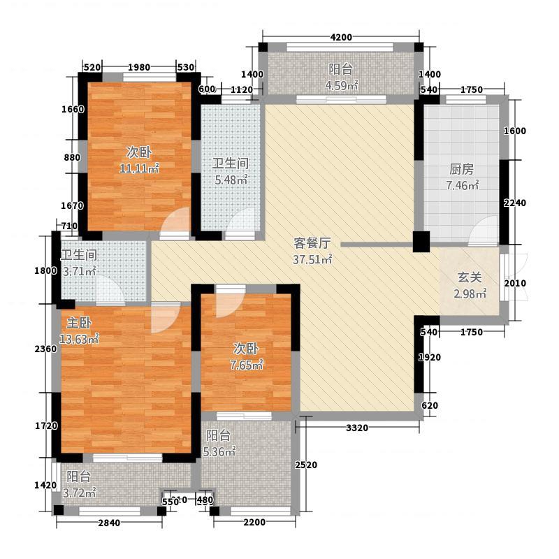 万锦城131.66㎡11号楼A户型3室2厅2卫1厨