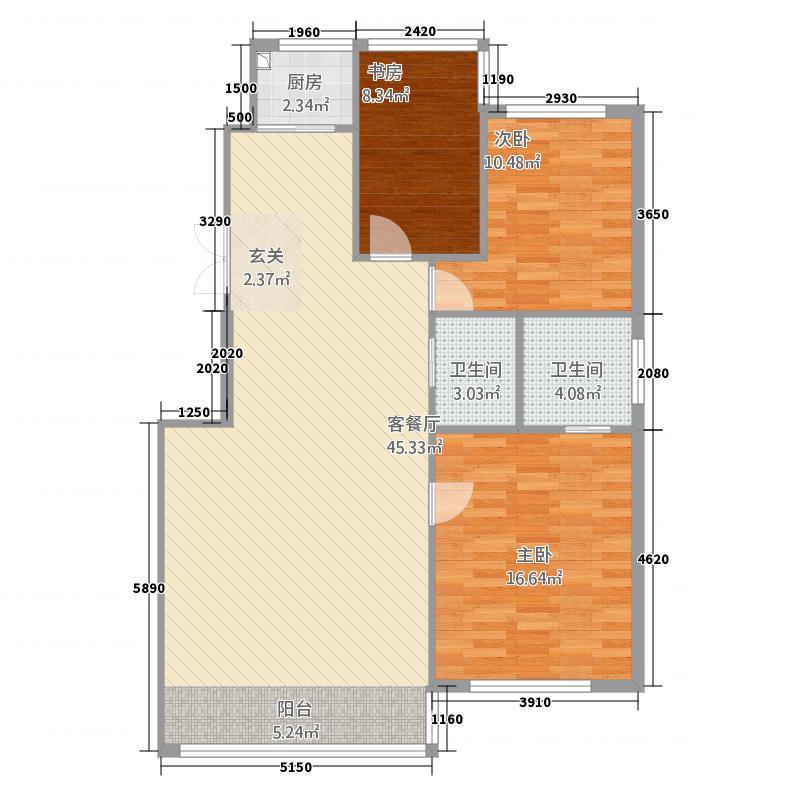 亿洋城B1户型3室2厅2卫1厨