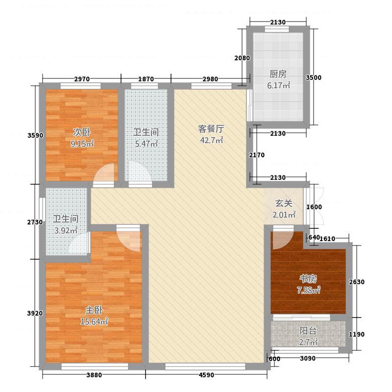 公园里133.68㎡G6户型3室2厅2卫1厨