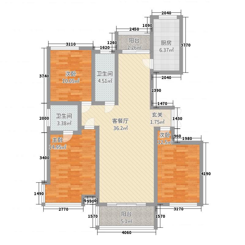 豪润・公园天下137.51㎡B4(13751)户型3室2厅2卫1厨