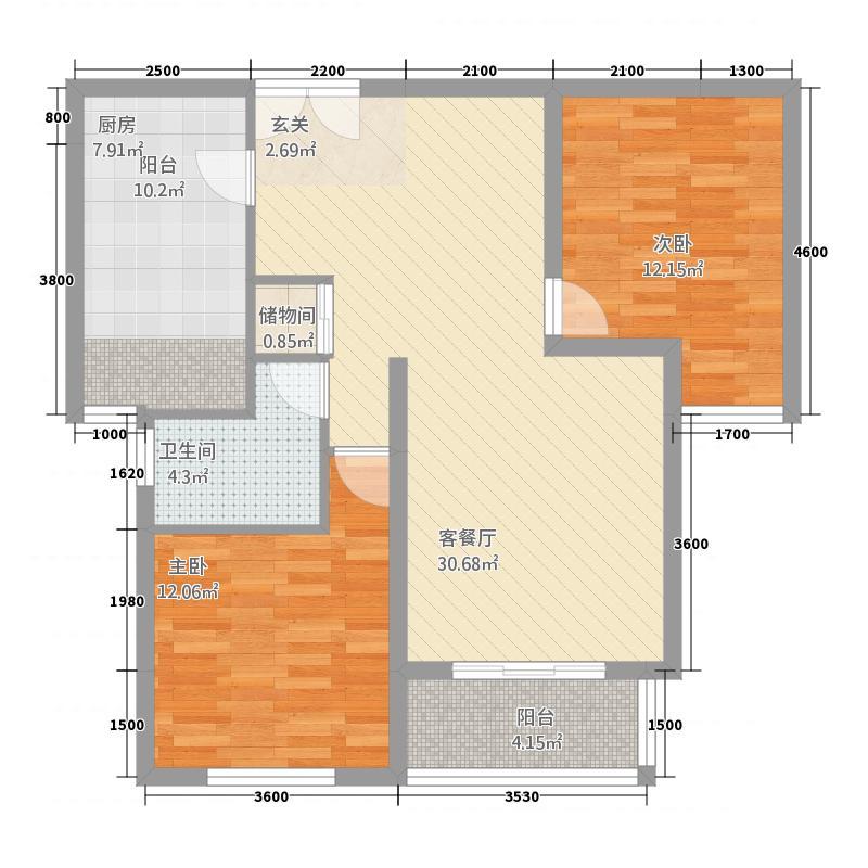 金水湾B区4.81㎡B户型2室2厅1卫1厨