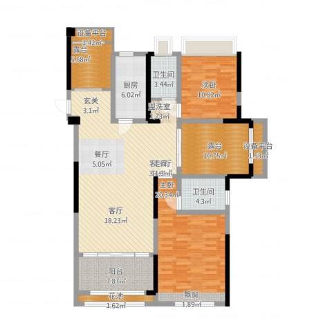 香榭一品2室1厅2卫1厨164.00㎡户型图
