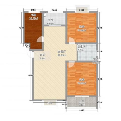 星河城3室1厅1卫1厨134.00㎡户型图