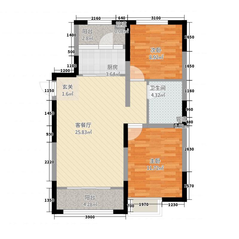 金地国际花园87.00㎡B2户型2室2厅1卫