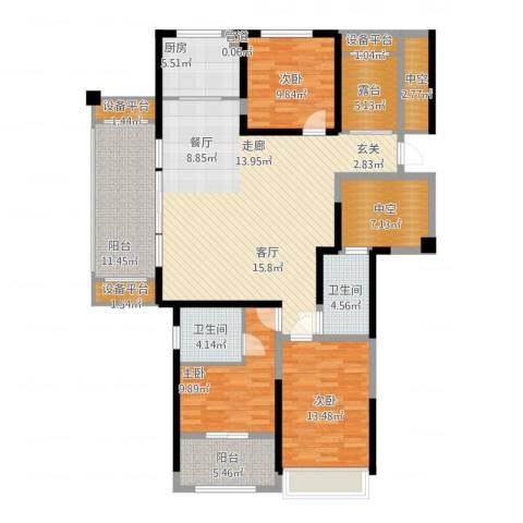 香榭一品3室1厅2卫1厨180.00㎡户型图